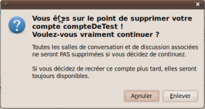 Confirmation de suppression d'un compte Empathy