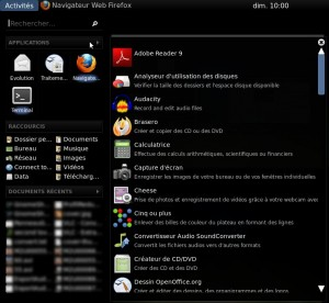 Applications dans Gnome Shell
