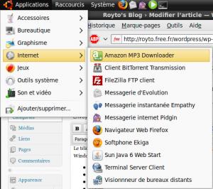 Amazon MP3 Downloader dans le menu d'Ubuntu