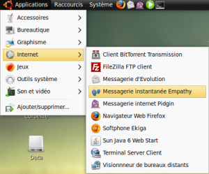 Empathy dans le menu Application > Internet