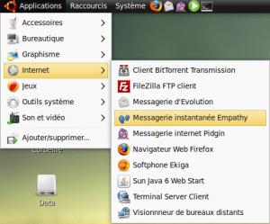 Empathy dans le menu Application > Internet