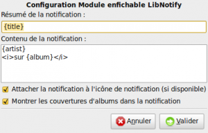 Configuration du plugin LibNotify