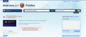 Page du plugin de FirefoxNotify