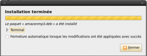 Installation terminée d'Amazon MP3 Downloader