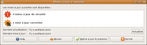 L'interface de mise à jour du système de PackageKit