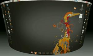 Le mode déformation cylindre de Compiz Fusion