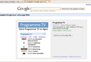 Gadget Google ProgrammeTV