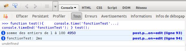 Affichage du temps d'exécution d'un code javascript avec l'API de Firebug