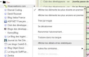 Accès au menu Détails et statistiques d'un flux RSS dans Google Reader