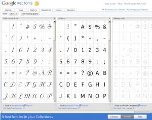 Google Web Font : Comparaison en mode Character Set