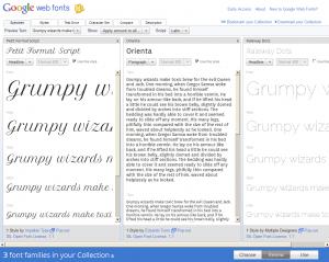 Google Web Font : Comparaison en mode Specimen