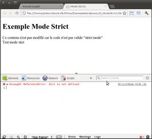 Affichage d'une erreur dans le débuggeur Chrome