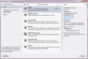 NuGet Manager - Recherche de T4MVC