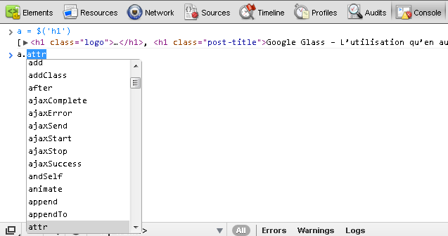 Chrome avec l'auto-completion