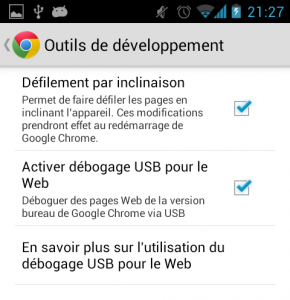Activation debogage USB dans Chrome Android