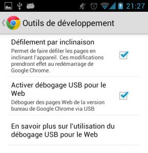 Activation debogage USB dans Chrome Android
