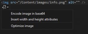 Options sur les images avec Web Essentials