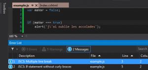 JSCS dans Visual Studio